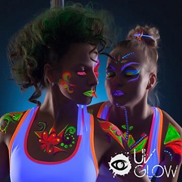 8 x 10ml UV-Bodypaint Körpermalfarben Schwarzlicht fluoreszierende Schminke Bodypainting Neon Farben Leuchtfarben -