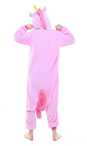 ABYED® Jumpsuit Tier Karton Fasching Halloween Kostüm Sleepsuit Cosplay Fleece-Overall Pyjama Schlafanzug Erwachsene Unisex Lounge,Erwachsene Größe XL -for Höhe 175-183CM 2016 Rosa Einhorn -