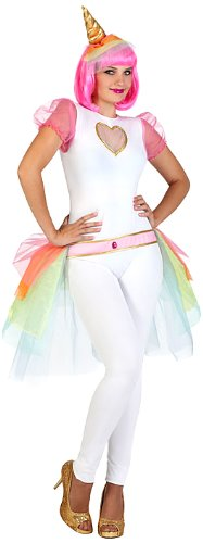 Atosa 23106 – Einhorn weibliches Kostüm, Größe M-L, weiß/bunt -