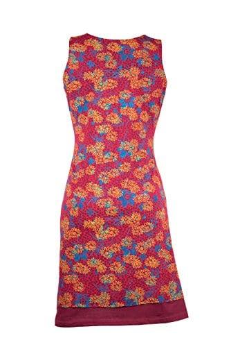 Ausgefallenes Freizeitkleid mit femininen Wasserfallkragen und bunten Floral Muster – Boho Chic – SIA rot (S/M) -