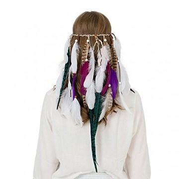 AWAYTR Neu Weiß Feder Stirnband Frauen Festival Hochzeit Kopfbedeckungen Böhmen Feder Seil Krone Kopfschmuck -