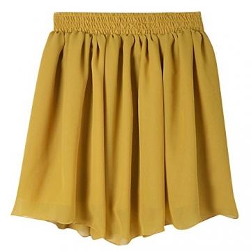 Damen Retro Damen Chiffon Rock Faltenrock Solide Farbe Minirock Tuellrock Kurz Skirt Sommerrock Dunkelgelb -