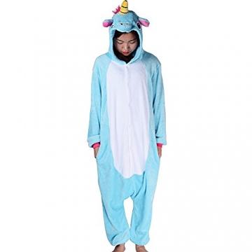 Einhorn Kostüm Erwachsene Tier Jumpsuits Onesie Pyjama Nachthemd Nachtwäsche Cosplay Overall Hausanzug Fastnachtskostuem Karnevalskostüme Faschingskostüm Kapuzenkostüm (M: Für Ihre Höhe :161 – 170cm, Blau) -