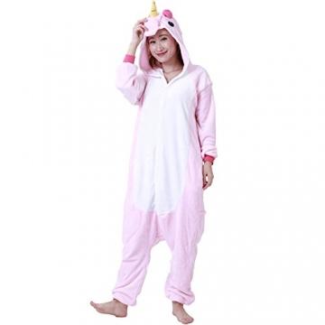 Einhorn Kostüm Erwachsene Tier Jumpsuits Onesie Pyjama Nachthemd Nachtwäsche Cosplay Overall Hausanzug Fastnachtskostuem Karnevalskostüme Faschingskostüm Kapuzenkostüm (L: Für Ihre Höhe :171 – 180cm, Pink) -