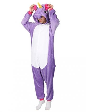 Einhorn Pyjamas Kostüm Jumpsuit -Karneval Cosplay Tier Schlafanzug Onesies Erwachsene Unisex Kigurumi LATH.PIN -