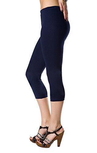 Futuro Fashion Lovely 3/4 Länge Baumwollleggings, Klassische Hose Stretch Active Einzigartig Farben – Marineblau, EU 40 -