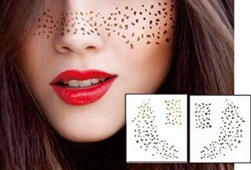 Gesicht Augen Tattoo Aufkleber Temporäre Tattoos 2er Packung f06 Gold für Gesicht Glitter MAKE-UP Effekt für Party Festival Shows und Bühne-Auftritte -