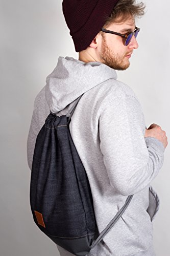 Grey Denim Sports Bag – Jeans / Oxford Rucksack, Gym Bag, Turnbeutel, Sportbeutel, Beutel, Tasche, Manufaktur13 M13 -