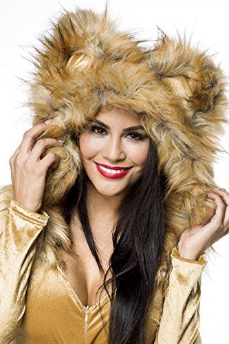 Heiße Löwin Löwenkostüm Kostüm Löwe Body Leo Damenkostüm Gold Damen Löwinkostüm Tier Tierkostüm Karneval Fasching L -