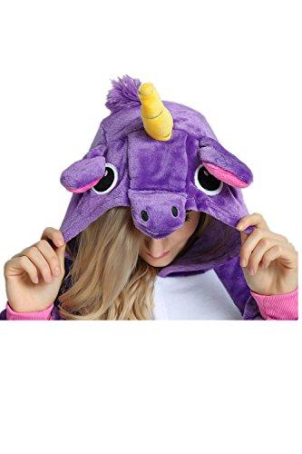 Missley Einhorn Halloween Kinder Unisex Einhorn Tier Kostüm Cosplay Kostüm Pyjamas (M, lila) -