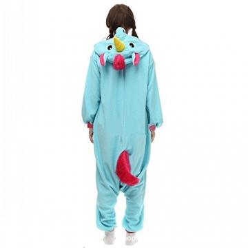 Misslight Einhorn Pyjama Damen Jumpsuits Tieroutfit Tierkostüme Schlafanzug Tier Sleepsuit mit Einhorn Kostüme festival tauglich Erwachsene (M, Blue) -