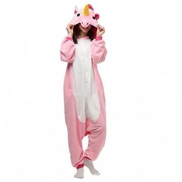 Misslight Einhorn Pyjama Damen Jumpsuits Tieroutfit Tierkostüme Schlafanzug Tier Sleepsuit mit Einhorn Kostüme festival tauglich Erwachsene (S, Pink) -