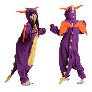 Misslight Einhorn Pyjama Damen Jumpsuits Tieroutfit Tierkostüme Schlafanzug Tier Sleepsuit mit Einhorn Kostüme festival tauglich Erwachsene (L, Lila Dinosaurier) -