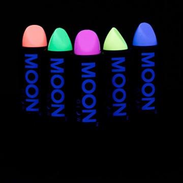 Moon Glow –Neon UV Lippenstift4.5g PastellSet mit 5 Farben–ein spektakulär glühender Effekt bei UV- und Schwarzlicht! -