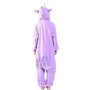 Overall Cartoon Einhorn Pyjamas Tier Nachtwäsche Cosplay Overall Kostüm Schlafsack für Erwachsene (L, lila) -