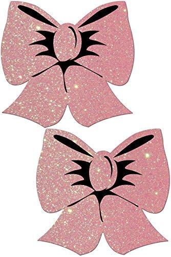 Pastease® Damen Glitzer Baby rosa Schleife Nippel Pasties -