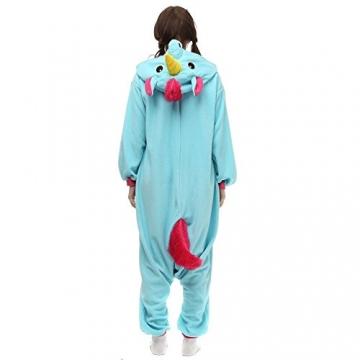 Unicsex Süß Einhorn Overall Pyjama Jumpsuit Kostüme Schlafanzug Für Kinder / Erwachsene (S, Blau) -