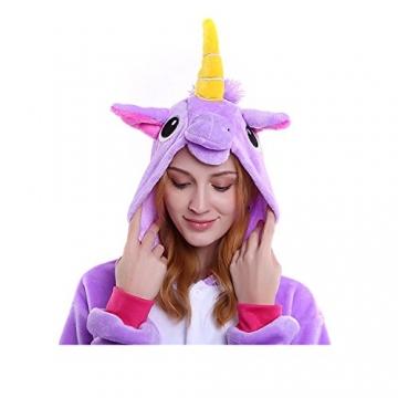 Unicsex Süß Einhorn Overall Pyjama Jumpsuit Kostüme Schlafanzug Für Kinder / Erwachsene (S, Lila) -