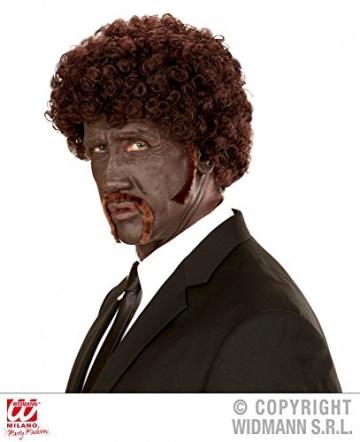 shoperama Braune Afro Perücke mit Schnurrbart und Koteletten Gangster Locken - 1