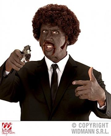 shoperama Braune Afro Perücke mit Schnurrbart und Koteletten Gangster Locken - 2