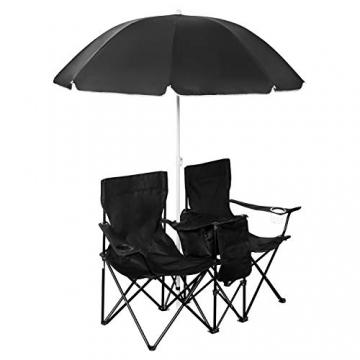 1PLUS 2er Partner Campingstuhl, klappbar, mit Sonnenschirm und Kühlfach - Doppelsitzer Anglerstuhl für 2 Personen (schwarz) - 2