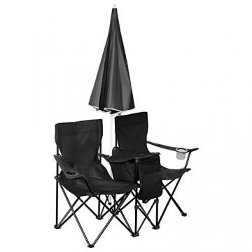 1PLUS 2er Partner Campingstuhl, klappbar, mit Sonnenschirm und Kühlfach - Doppelsitzer Anglerstuhl für 2 Personen (schwarz) - 3