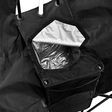 1PLUS 2er Partner Campingstuhl, klappbar, mit Sonnenschirm und Kühlfach - Doppelsitzer Anglerstuhl für 2 Personen (schwarz) - 4
