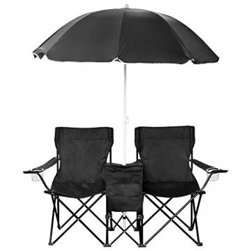 1PLUS 2er Partner Campingstuhl, klappbar, mit Sonnenschirm und Kühlfach - Doppelsitzer Anglerstuhl für 2 Personen (schwarz) - 1