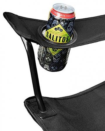 1PLUS 2er Partner Campingstuhl, klappbar, mit Sonnenschirm und Kühlfach - Doppelsitzer Anglerstuhl für 2 Personen (schwarz) - 6