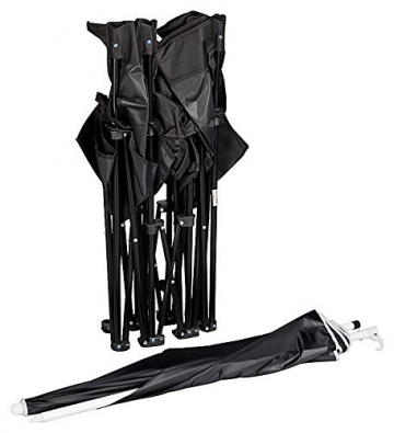 1PLUS 2er Partner Campingstuhl, klappbar, mit Sonnenschirm und Kühlfach - Doppelsitzer Anglerstuhl für 2 Personen (schwarz) - 8