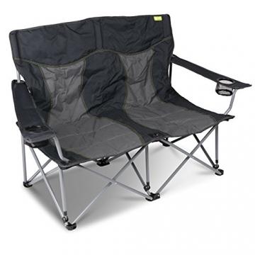 Campingstuhl für 2 Personen mit Getränkehalter einfach zusammenfaltbar • Klappstuhl Faltstuhl Gartenstuhl Stuhl Klappsessel Outdoor Camping - 1