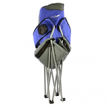 Divero Deluxe Faltstuhl 2er Set Armlehne blau grau Getränkehalter Tragetasche 90x62x108 cm bis 130 kg 600D Oxford Beschichtung Campingstuhl Angelstuhl Stahlrahmen 19mm extra breit gepolstert - 3