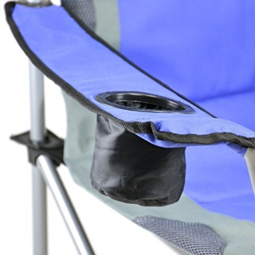Divero Deluxe Faltstuhl 2er Set Armlehne blau grau Getränkehalter Tragetasche 90x62x108 cm bis 130 kg 600D Oxford Beschichtung Campingstuhl Angelstuhl Stahlrahmen 19mm extra breit gepolstert - 5