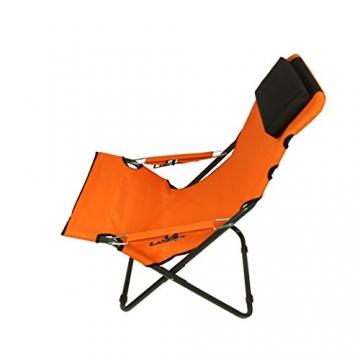 Fridani Campingstuhl RCO 100 Klappstuhl Orange + Kopfpolster bequemer XXL Gartenstuhl Sonnenliege - 4