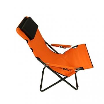 Fridani Campingstuhl RCO 100 Klappstuhl Orange + Kopfpolster bequemer XXL Gartenstuhl Sonnenliege - 8