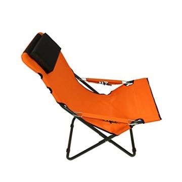 Fridani Campingstuhl RCO 100 Klappstuhl Orange + Kopfpolster bequemer XXL Gartenstuhl Sonnenliege - 9
