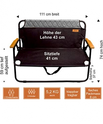 hdg Klappbank Campingbank Gartenbank James tragbar klappbar 2 Sitzer Campingstuhl - 3