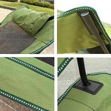 HM&DX Tragbare Outdoor Klappstühle Camping stühle mit fußablage Verstellbare rückenlehne Becherhalter Kompakt Camping wandern Strand Angeln Garten -Grün - 2