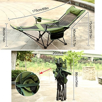 HM&DX Tragbare Outdoor Klappstühle Camping stühle mit fußablage Verstellbare rückenlehne Becherhalter Kompakt Camping wandern Strand Angeln Garten -Grün - 3