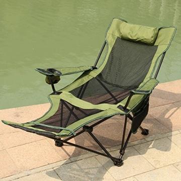 HM&DX Tragbare Outdoor Klappstühle Camping stühle mit fußablage Verstellbare rückenlehne Becherhalter Kompakt Camping wandern Strand Angeln Garten -Grün - 4