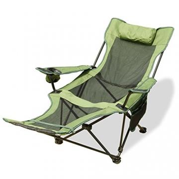 HM&DX Tragbare Outdoor Klappstühle Camping stühle mit fußablage Verstellbare rückenlehne Becherhalter Kompakt Camping wandern Strand Angeln Garten -Grün - 1