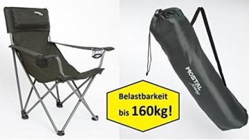 Mostal Faltstuhl Klappstuhl Anglerstuhl Angelstuhl mit Getränkehalter Armlehnen 160Kg - 1