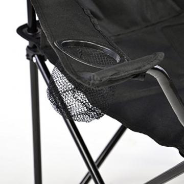Nexos Angelstuhl Anglerstuhl Faltstuhl Campingstuhl Klappstuhl mit Armlehne und Getränkehalter praktisch robust leicht schwarz - 2