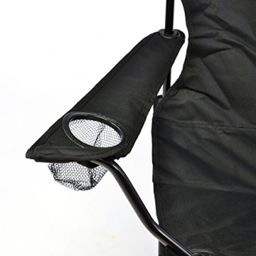 Nexos Angelstuhl Anglerstuhl Faltstuhl Campingstuhl Klappstuhl mit Armlehne und Getränkehalter praktisch robust leicht schwarz - 3