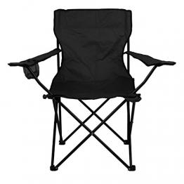 Nexos Angelstuhl Anglerstuhl Faltstuhl Campingstuhl Klappstuhl mit Armlehne und Getränkehalter praktisch robust leicht schwarz - 1