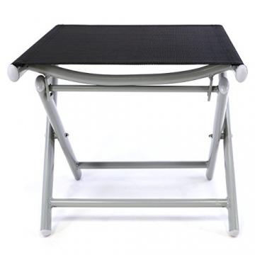 Nexos ZGC34465 Klapphocker Sitzhocker Campinghocker Fußteil aus Aluminium und Textilene schwarz pulverbeschichtet Rahmen Hellgrau Sitzhöhe 42 cm für Balkon Terrasse, - 3