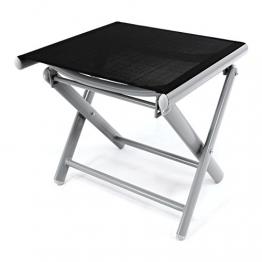 Nexos ZGC34465 Klapphocker Sitzhocker Campinghocker Fußteil aus Aluminium und Textilene schwarz pulverbeschichtet Rahmen Hellgrau Sitzhöhe 42 cm für Balkon Terrasse, - 1