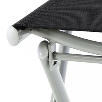 Nexos ZGC34465 Klapphocker Sitzhocker Campinghocker Fußteil aus Aluminium und Textilene schwarz pulverbeschichtet Rahmen Hellgrau Sitzhöhe 42 cm für Balkon Terrasse, - 4