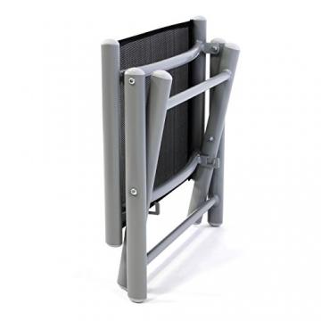 Nexos ZGC34465 Klapphocker Sitzhocker Campinghocker Fußteil aus Aluminium und Textilene schwarz pulverbeschichtet Rahmen Hellgrau Sitzhöhe 42 cm für Balkon Terrasse, - 6