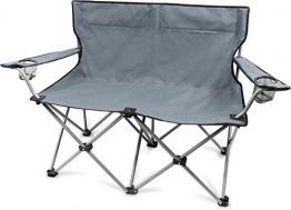 normani 2-Sitzer Campingstuhl Doppelklappstuhl Campingsofa bis 250 Kg inkl. Tragebeutel und Getränkhalter Farbe Grey - 1